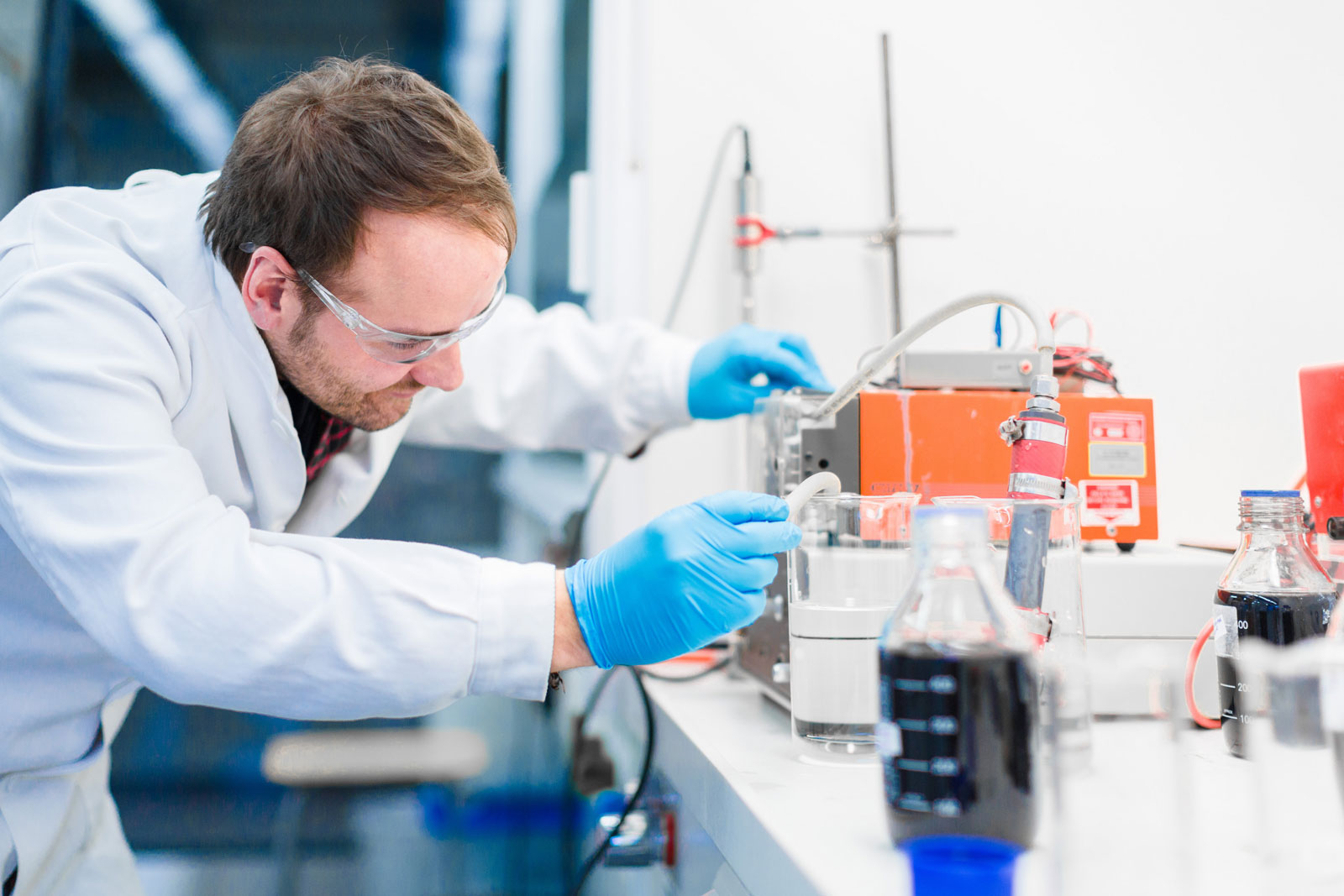 Man working in the lab at LUT University