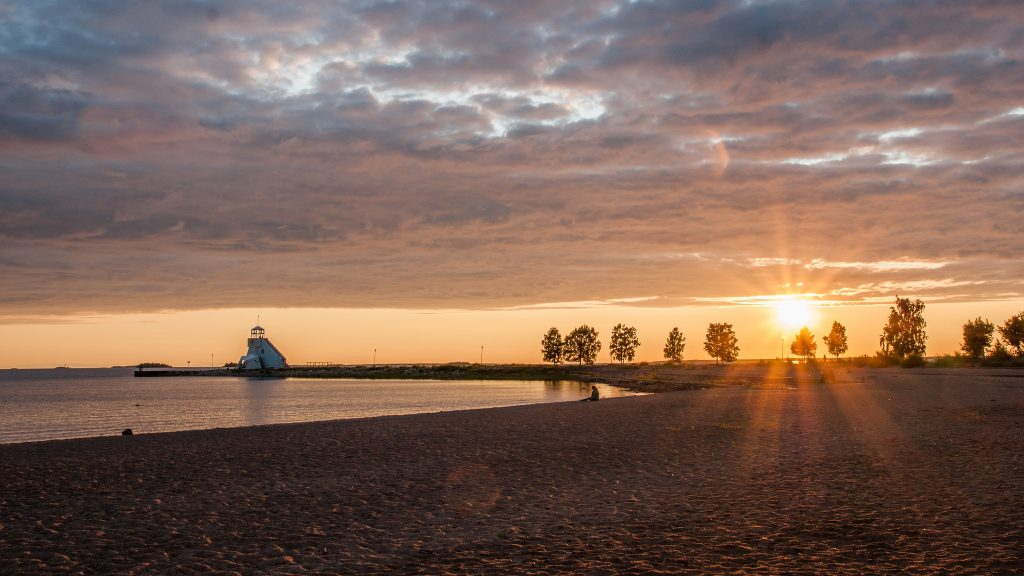 Sunset at a beach in Finland