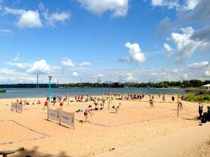 People playing beach volley in Finland