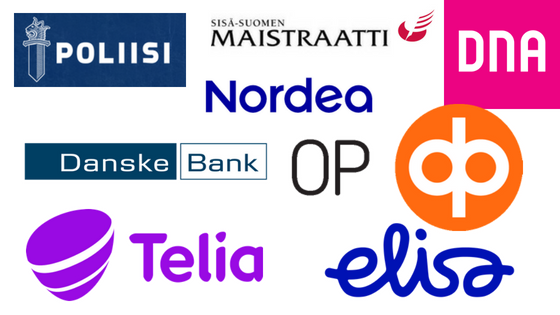 Logos of popular finnish banks and phone operators