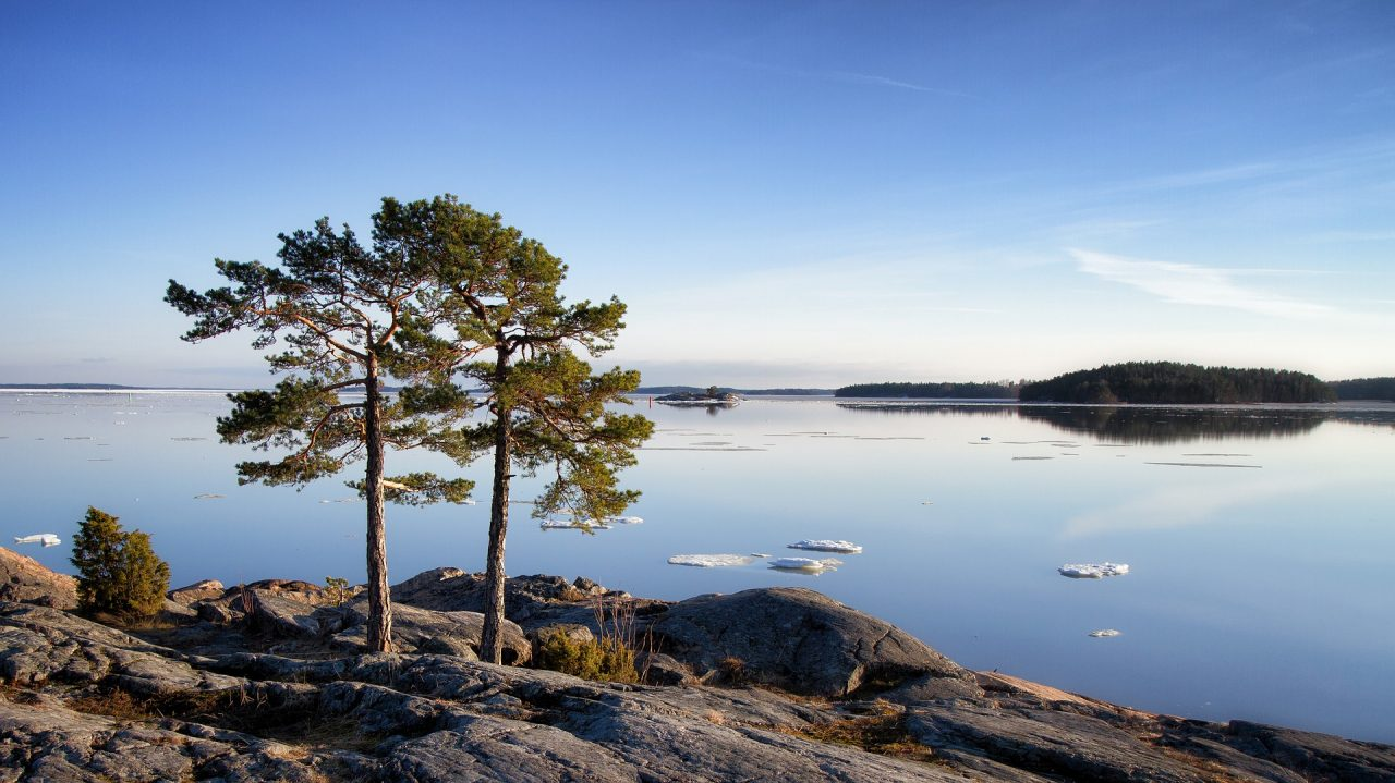 Clear sky, lakeside Finland