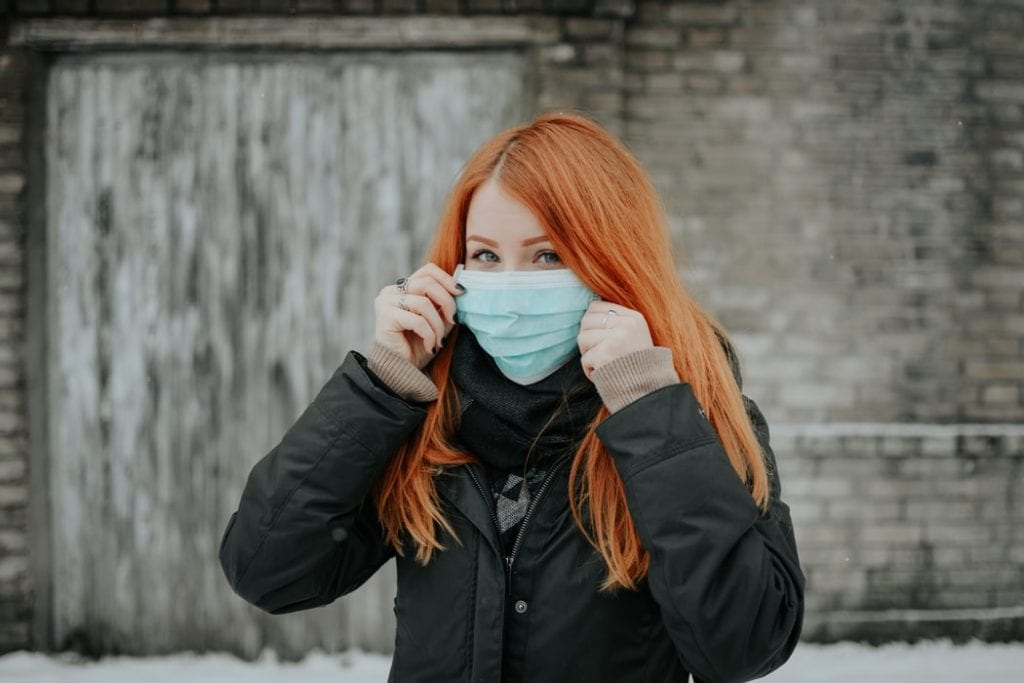 Girl with a surgical mask