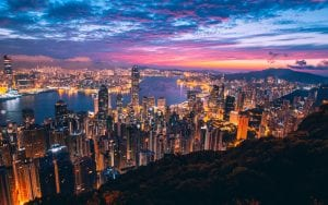 Amazing night sky and city view in Hong Kong Asia