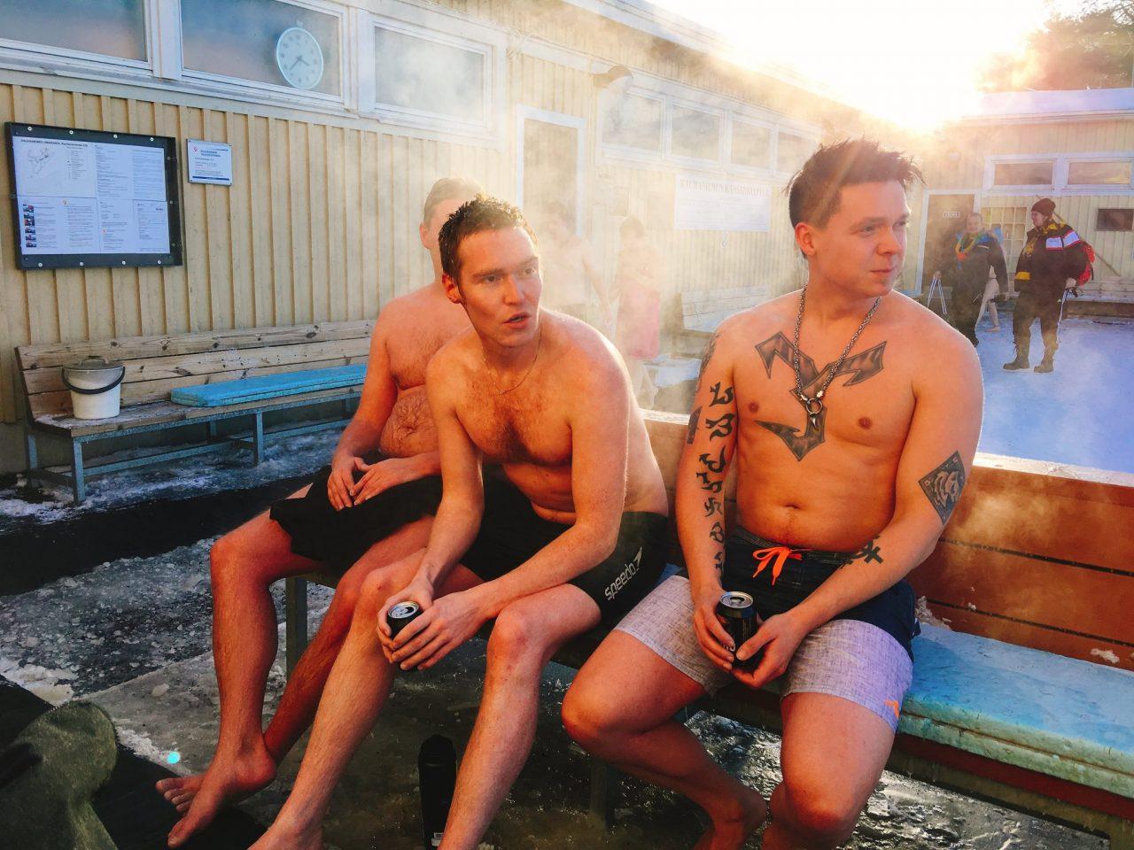 Men having Sauna in Finland