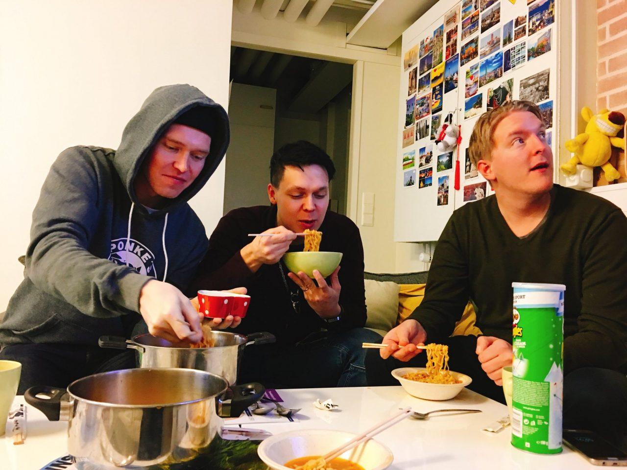 Men having ramen