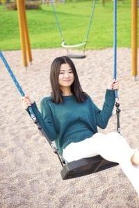 lady on a swing