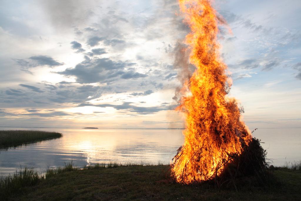 Midsummer bonfire - lakeside, Finland