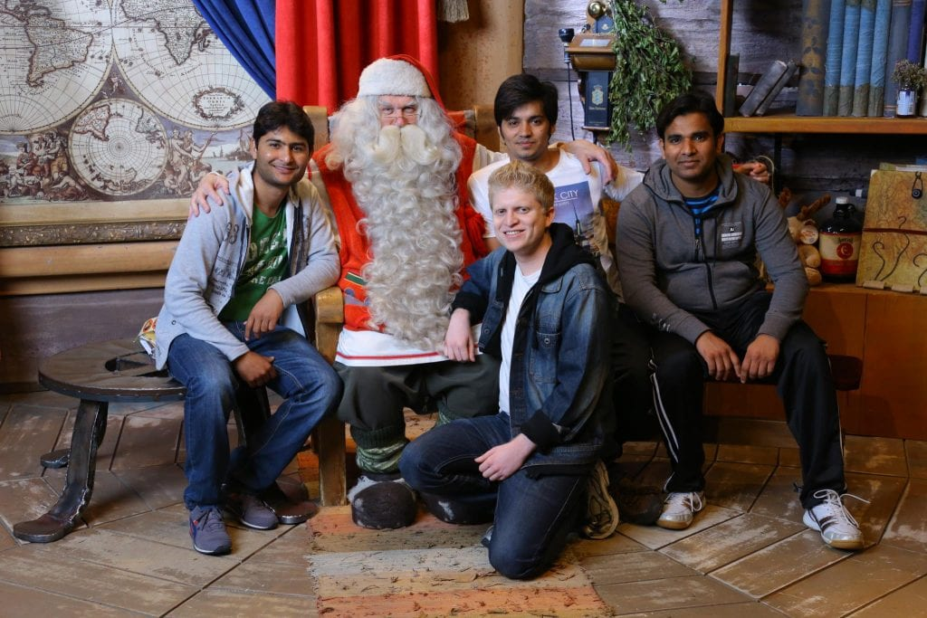 Foreign students with Santa Claus