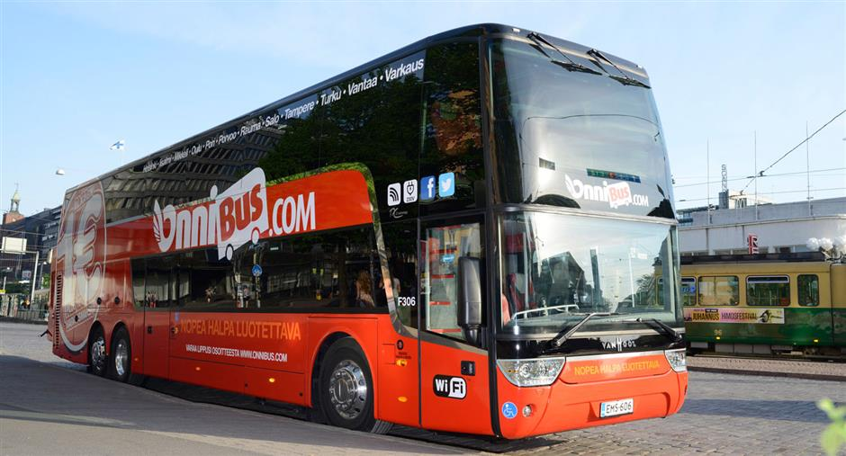 Omni red bus