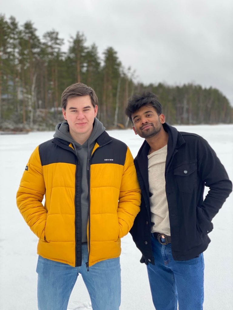 two LUT students in the snow