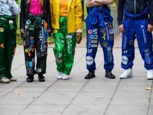 SAMK students in overalls