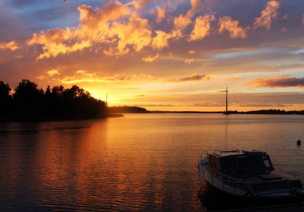 Sunset by the water in Finland
