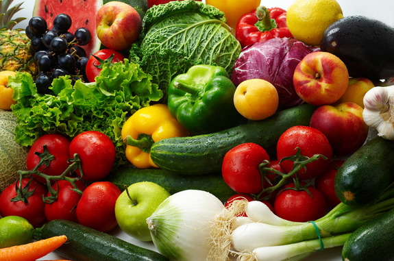 Colorful healthy foods