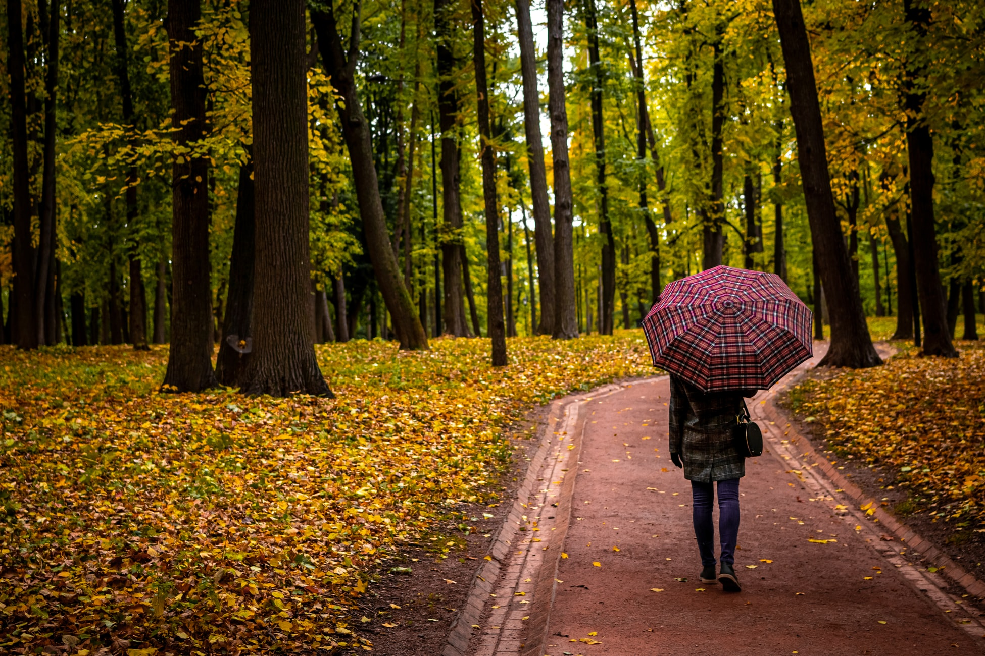 Woman walking with an umbrella and eco bag