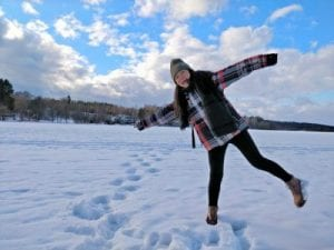 Hongkong student enjoying the snow