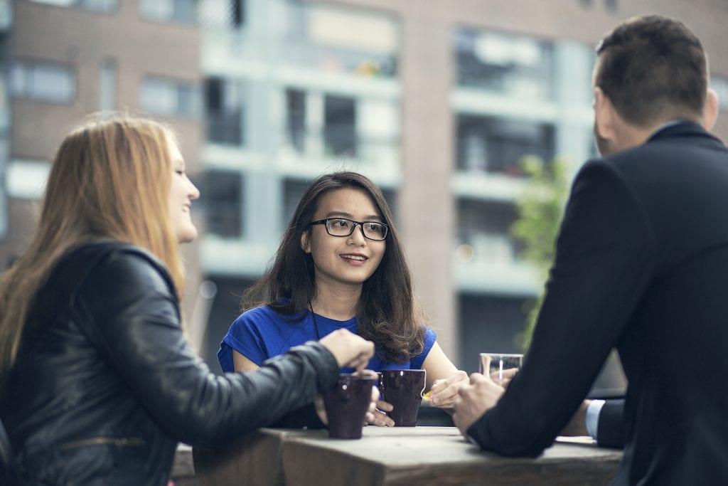 Arcada university students chatting