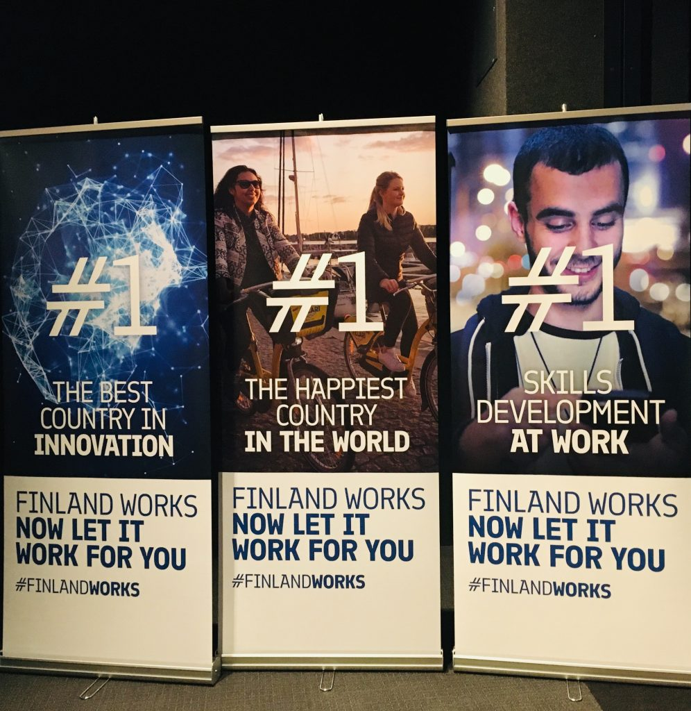 Three roll ups promoting Finland as the happiest county, best country in innovation and number one in skills developed at work