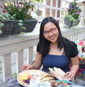 Vietnamese girl having lunch in Finland