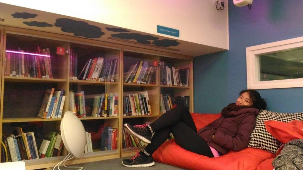 creative space girl in university in Finland