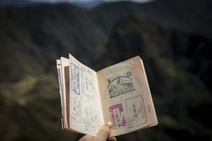 Passport with stamps