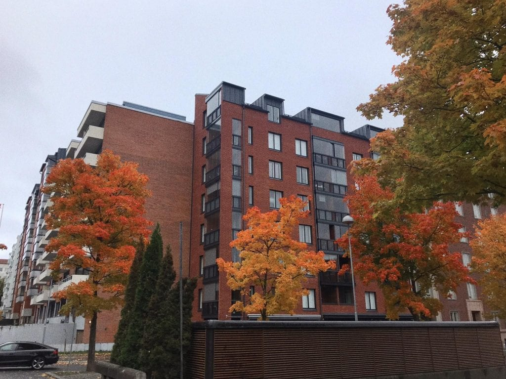 Campus façade autumn season