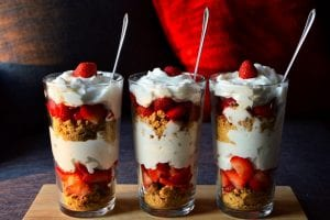 Dessert glass with strawberries