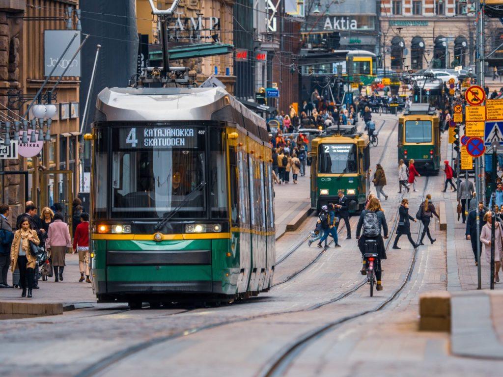 Tram traffic in Helsinki city center