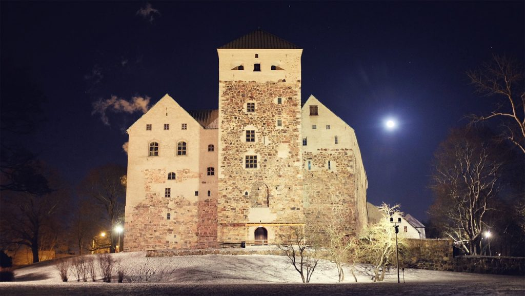 Turku Castle in Finland during Nighttime