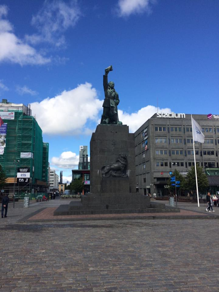 city view and a statue in Vaasa, Finland