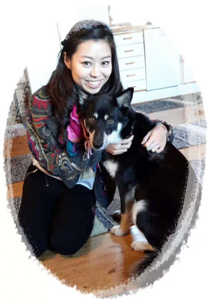 Foreign student in Finland with her dog