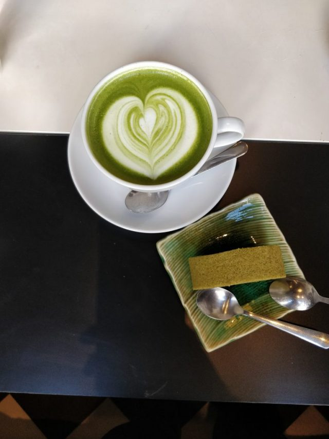 matcha latte and rollcake can be found in Helsinki