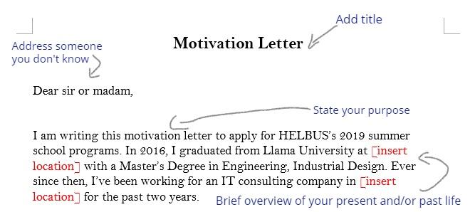 Sample motivation letter template