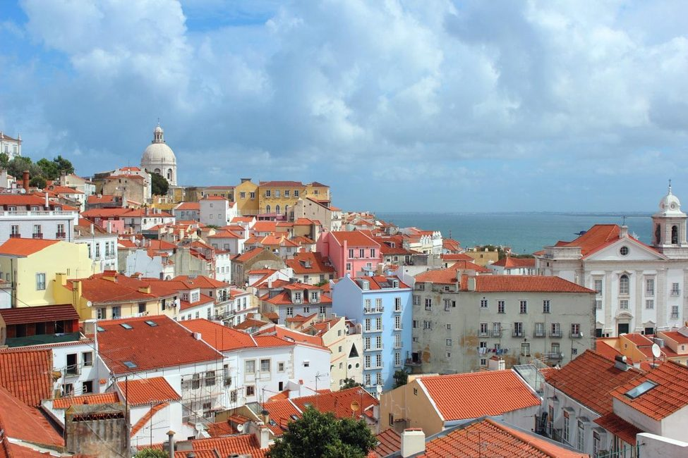 Buildings in Portugal with orange roofs