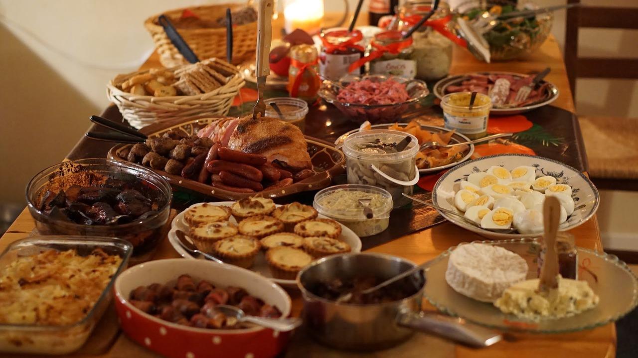 Finnish christmas table full of food