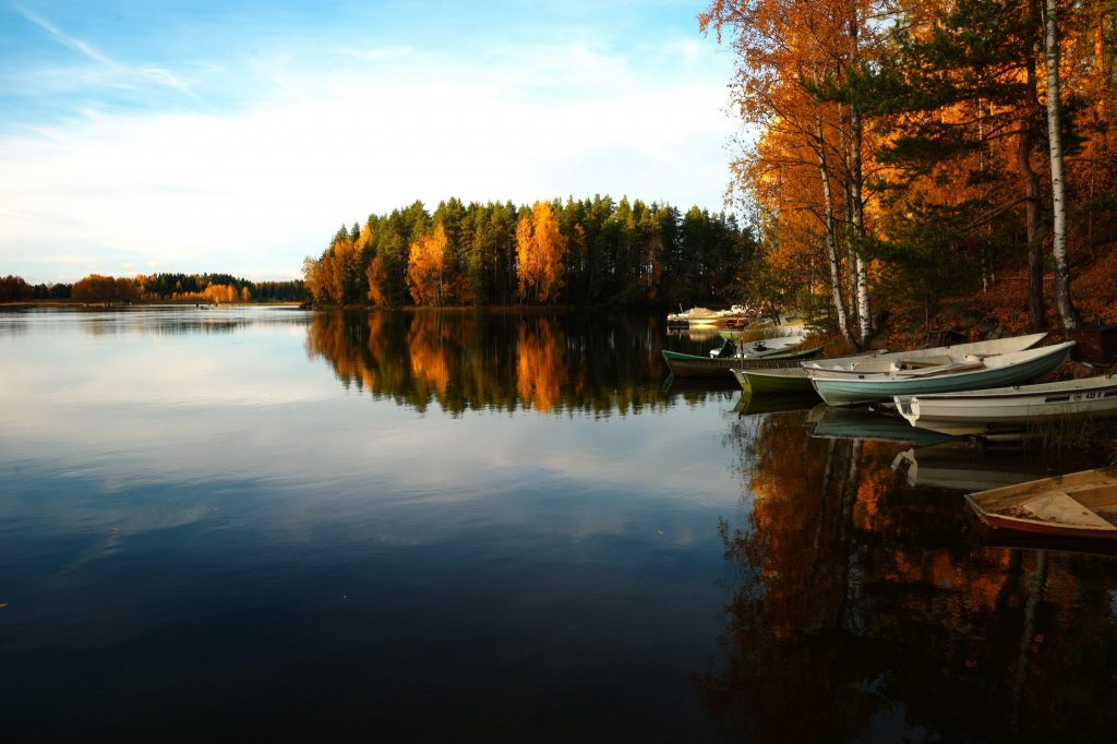 Finland autumn lake view
