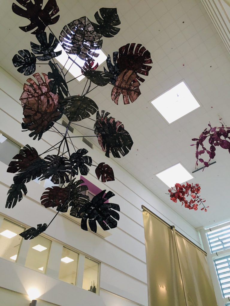 Hanging ornaments and light decors in ceiling