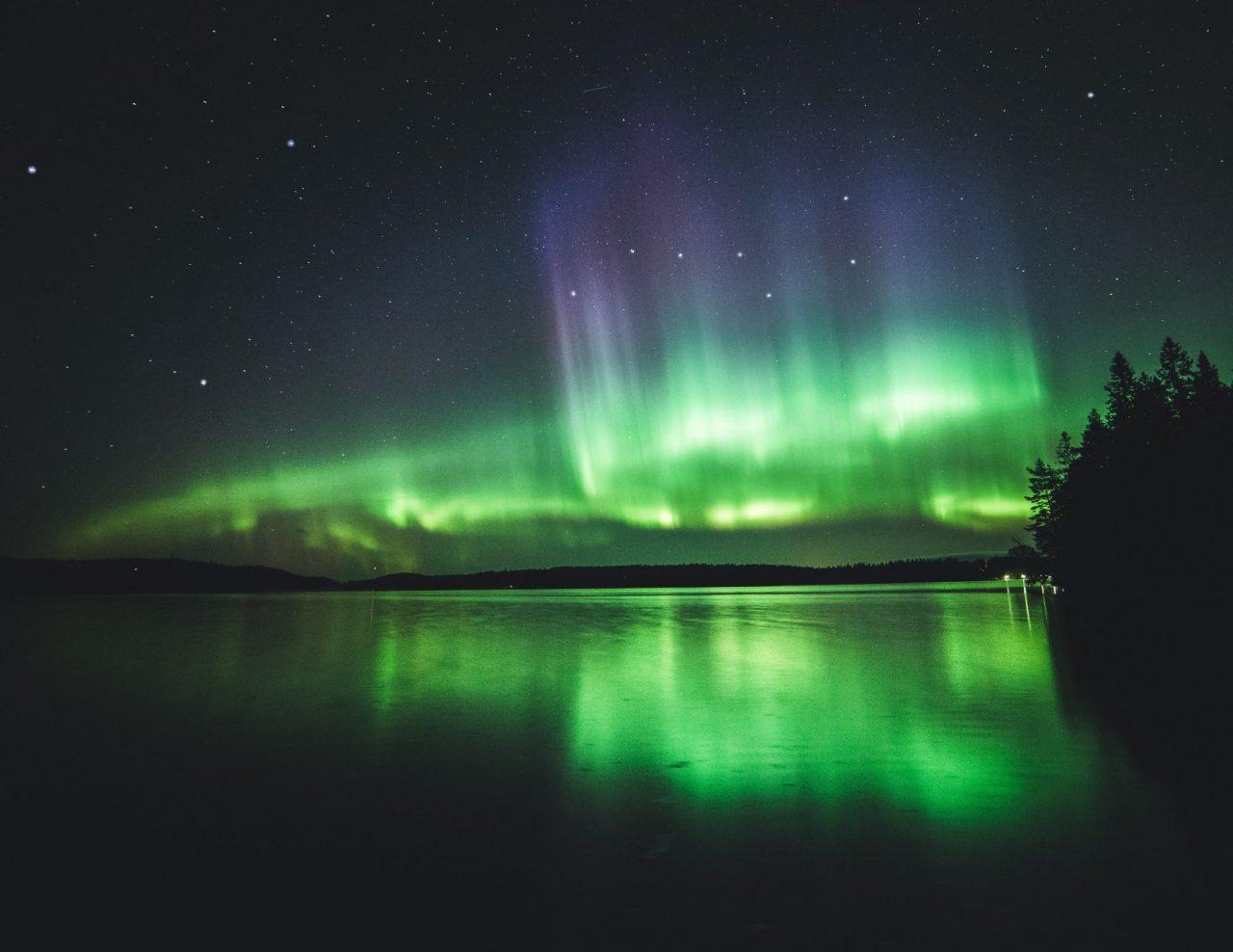 Northern lights over a lake