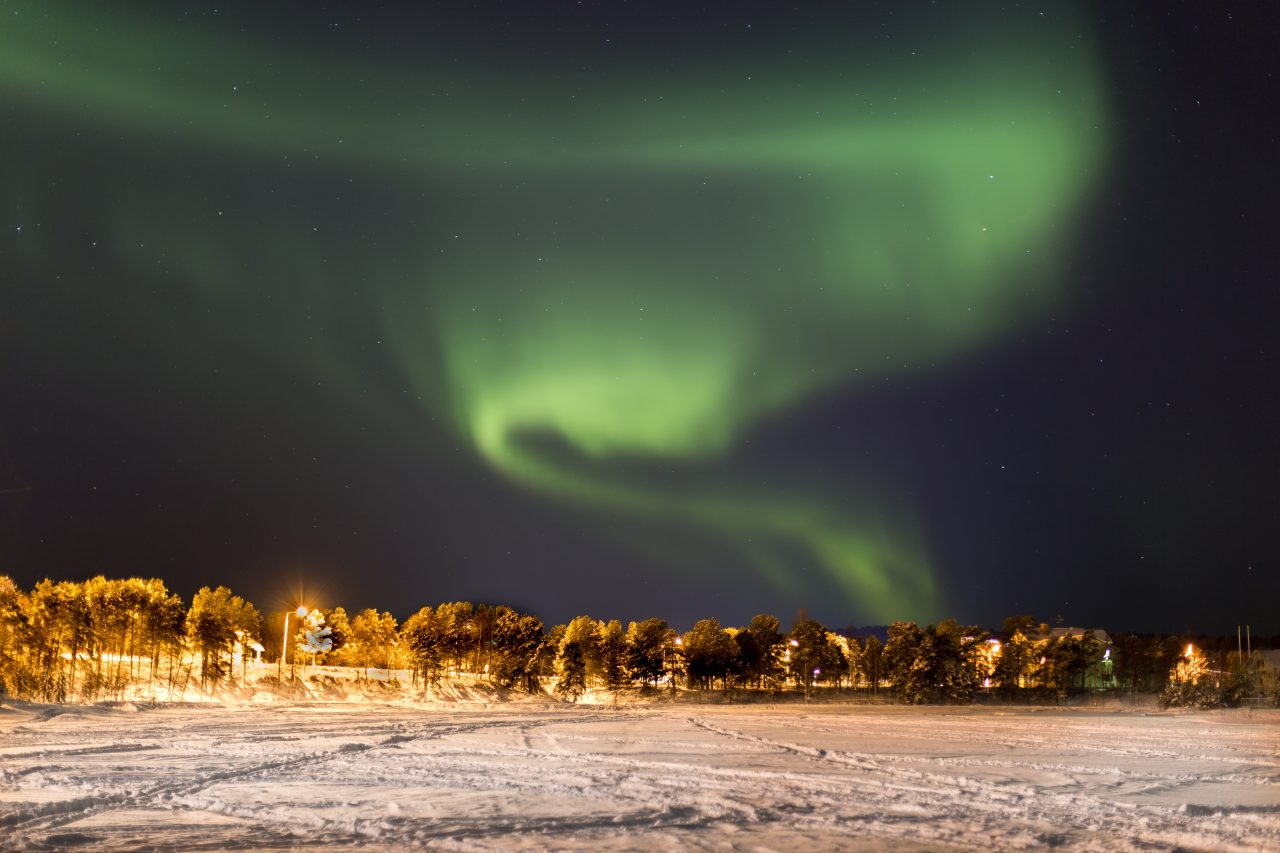 Northern lights in the winter