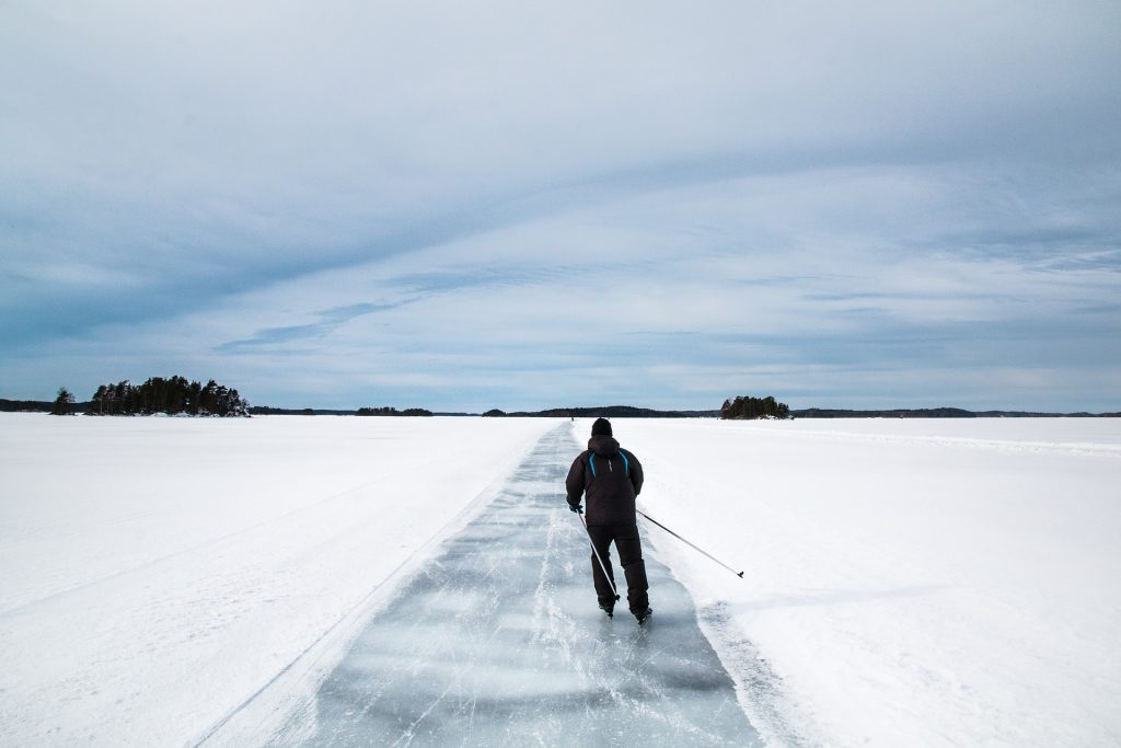 Skiing on a lake in Finland, Europe