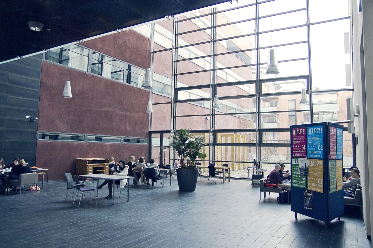 Lounge area of Arcada university of applied sciences in Finland