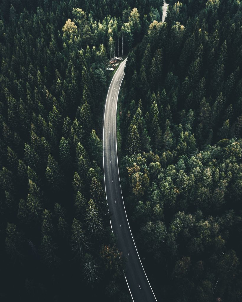 aerial view of a road between pine forests in finland