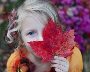 Child holding a big autumn leaf