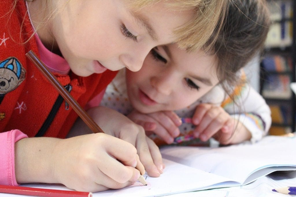 two children studying and learning