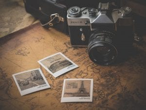 map and pictures with a camera