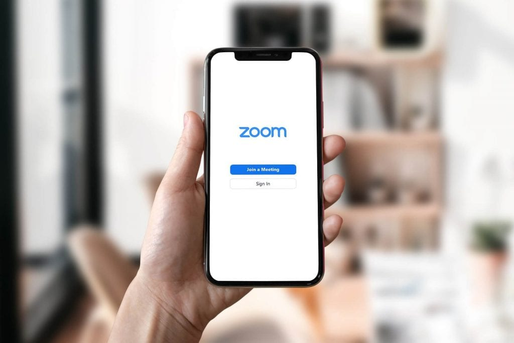Phone with zoom meeting app