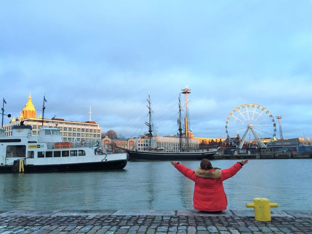 Student in Helsinki city harbour
