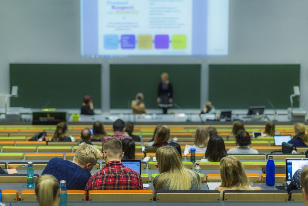 Students at a lecture at LUT University
