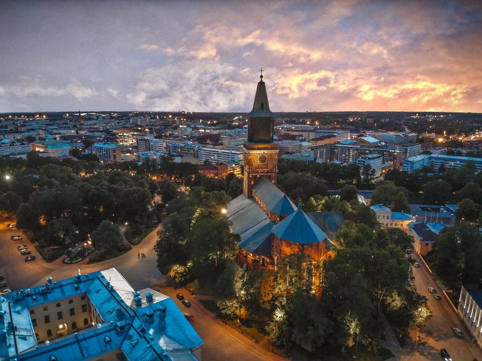 Turku cathedral and city view