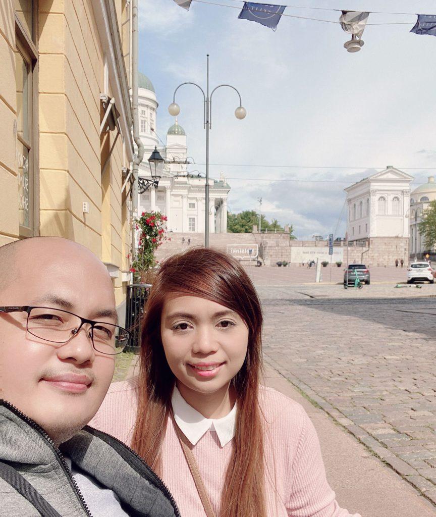 Bethanee and her husband in Helsinki
